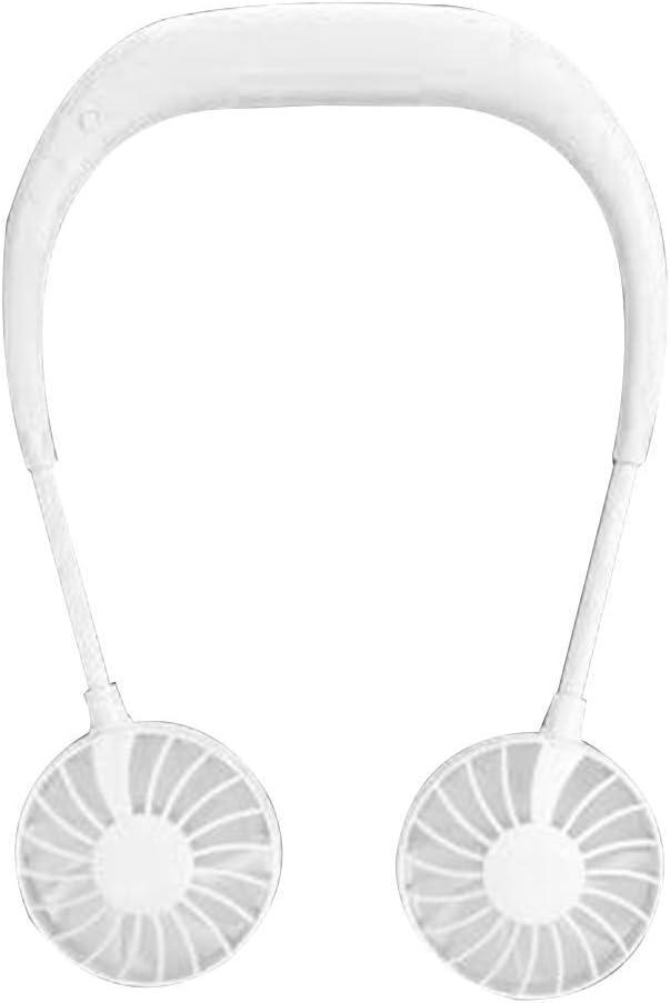 Hands-Free Neckband Fan,Hand Free Personal Fan,Headphone Design Wearable Portable USB Rechargeable Neckband Mini Fan (3 Speeds, 5-10 Working Hours) (White)