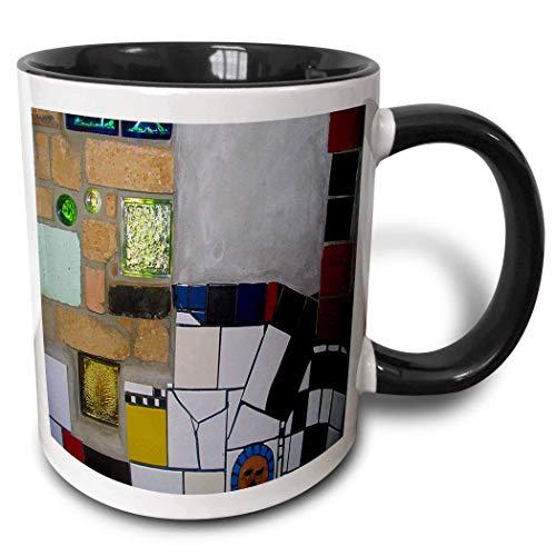 Hdadwy Neuheit Keramikbecher 11 Unzen lustige Kaffeetasse Einzigartiges Geschenk in der weltberühmten Hundertwasser-Toilette in Kerikeri zweifarbige schwarze Tasse Mehrfarbige Kaffeetasse mit farbigem