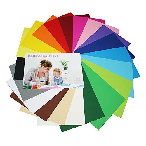 DIY - DIN A3 - Bastelzauber Bastelkarton Tonpapier - 20 Bögen in 20 verschiedenen Farben, 1 Bogen pro Farbe, 180g/m²