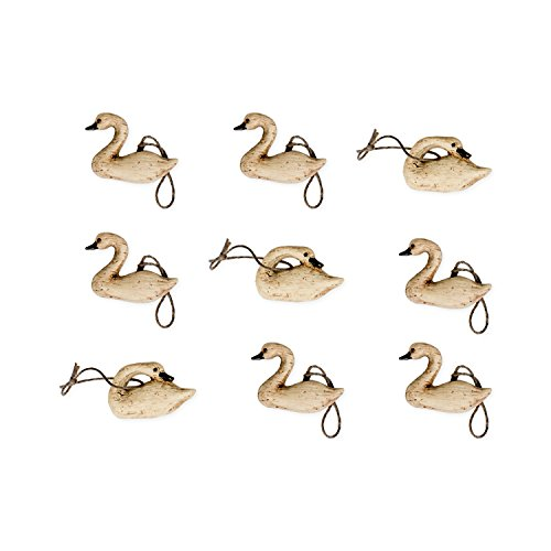 The Country House Collections Distressed Wood Look Miniature Swan 1 inch Christmas Ornament Set of 9