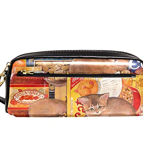 Estuche para lápices Estuche para marcadores de bolígrafos Tienda de alimentos para gatos lindos Organizador de papelería de cuero con cremallera