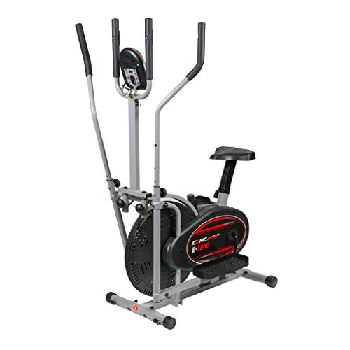 ICONIC Sport Elliptical Stepper Bike and Cross Trainer - Sitting/Standing - 2-in-1 Design - 5 lb Flywheel - (Black/Silver)