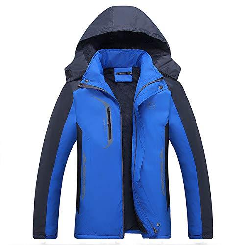 W&TT Men's Down Jacket, Plus Velvet Épaissir Manteau Chaud À Capuchon De Sport en Plein Air Veste Peut Être Stocké,Blue,XXXXL