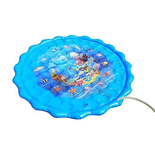 FCH Splash Pad Wasserspielzeug spielmatte Sprinkler Play Matte Umweltschutz Wasserbett Brunnen Outdoor Eltern-Kind-Spiel Wasser pad Blue Ocean World Wassersprühpad 160cm