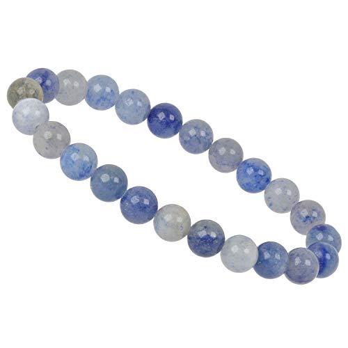 ELEDORO PowerBead Damen-Armband Stretch aus Edelstein Perlen 8 mm 17-18 cm mit Aventurin blau
