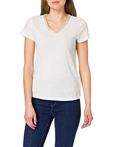 Morgan T Shirt Dore Camiseta, Off White, TS para Mujer