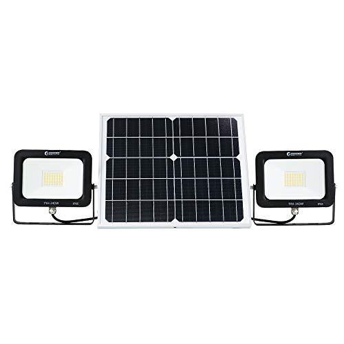 グッドグッズ(GOODGOODS) 分離型 LED ソーラーライト 2灯式 30W 電球色 屋外 ソーラー 投光器 防水 充電池交換可 庭 駐車場 玄関 廊下 TYH-34DW