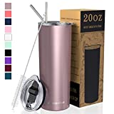 Umite Chef Straw Tumbler Skinny Travel Tumbler with Lid, Vacuum Insulated 20oz Coffee Mug, Double...