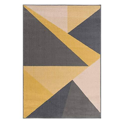 mynes Home Kurzflor Teppich Grau Gelb Pastellfarben Wohnzimmerteppich in Modernem Geometrischem Dreieck, Haustierfreundlich, Kinderfreundlich, Top Designer Teppiche, Größe: 160 cm x 230 cm