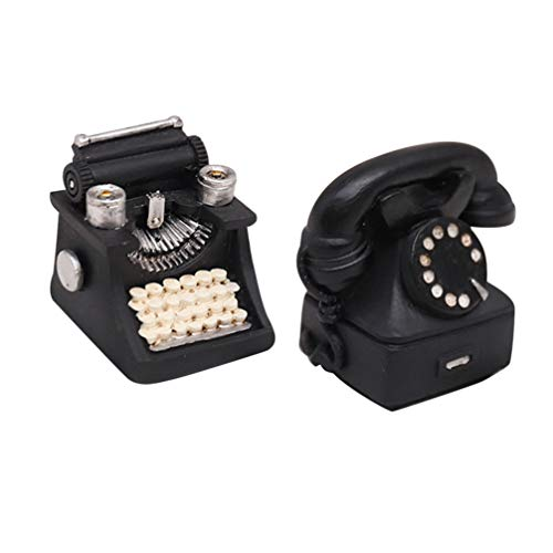 VOSAREA Retro European Resin Figurine for Home Cafe Bar Window Decoration Children Toys Gift for Christmas (Typewriter Phone)2pcs