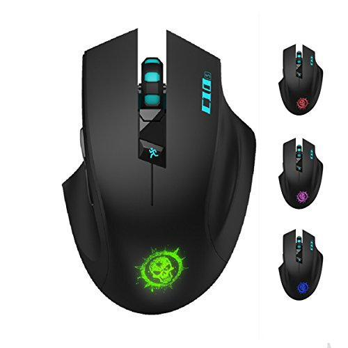 SROCKER C10s 2.4GHz Wireless Silent Click Gaming Mouse/Mice Soundless Mouse with Nano USB Receiver, 3 Adjustable DPI, 6 Buttons and Four-color Luminous LED for PC and Mac(Black)