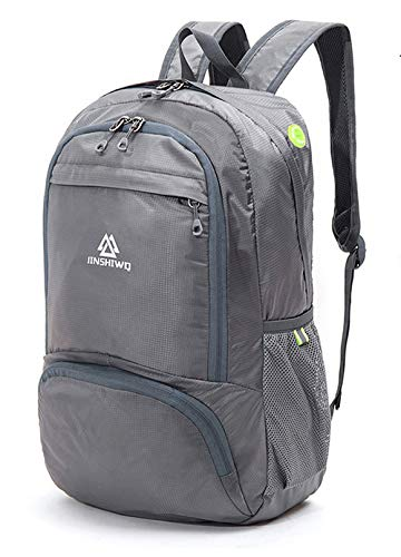 LOOCOWER Lightweight Hiking Travel Backpack, 35L Packable Ultralight Backpack Daypack, Water-Resistant Foldable Camping Outdoor Backpack for Travelling - Gray