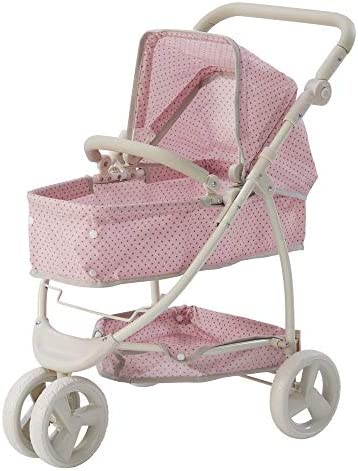 Olivia s Little World Polka Dots Princess 2 in 1 Baby Doll Stroller Pink Gray Doll Pram OL 00009 product image