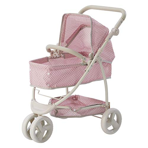 Olivia's Little World - Polka Dots Princess 2-in-1 Baby Doll Stroller - Pink/Gray, Doll Pram (OL-00009)