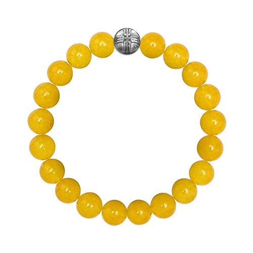 Forziani Natural Yellow Jade Beads Mens Bracelet - Energy and Endurance - 10mm High Quality Genuine Yellow Gemstone Beaded Adjustable Stretch Bracelet for Men - Made in USA - Gift Box Included