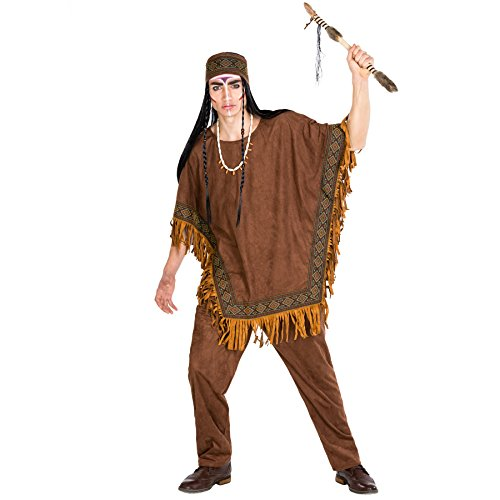 TecTake dressforfun Herrenkostüm Häutpling   Kostüm + Poncho und elastisches Haarband   Indianer Indianerin Verkleidung (XXL   Nr. 300680)