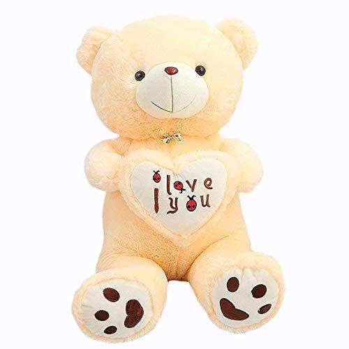 VERCART Grand Nounours Ours en Peluche XXL Teddy Bear Jouet Oursons Douce Cadeaux pour Bébé Enfant Ado Fille Garçon Beige 90cm