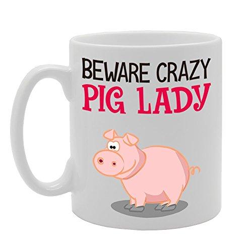 MG4233 Beware Crazy Pig Lady Novelty Gift Printed Tea Coffee Cermic Mug