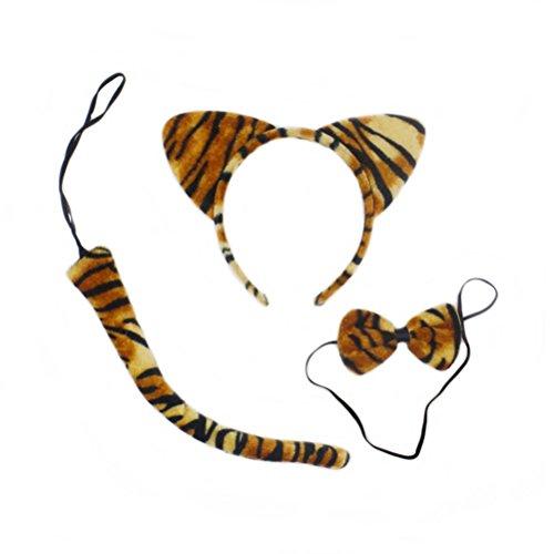 LUOEM Tiger Kostüm Niedlichen Tiere Kitty Katzenohren Stirnband Bogen Krawatten Schwanz Set Party Cosplay Kostüm, 3 Pack (Tiger Streifen)
