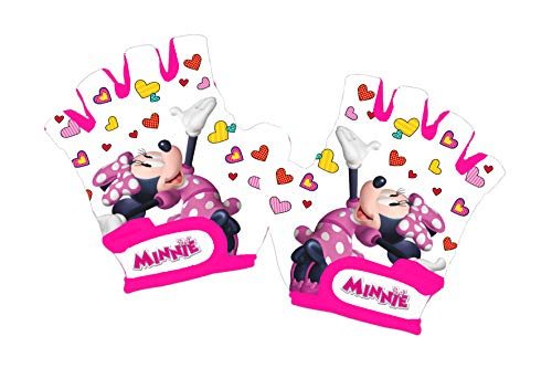 Disney Minnie Mouse - Guantes de Ciclismo para niña, Color Blanco, Talla XS