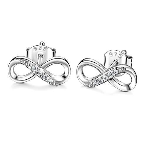 Billie Bijoux donne 925 orecchini in argento sterling borchie Infinito amore Gioielli con diamanti CZ per donne, regalo per ragazze per la festa della mamma (A-infinity studs)