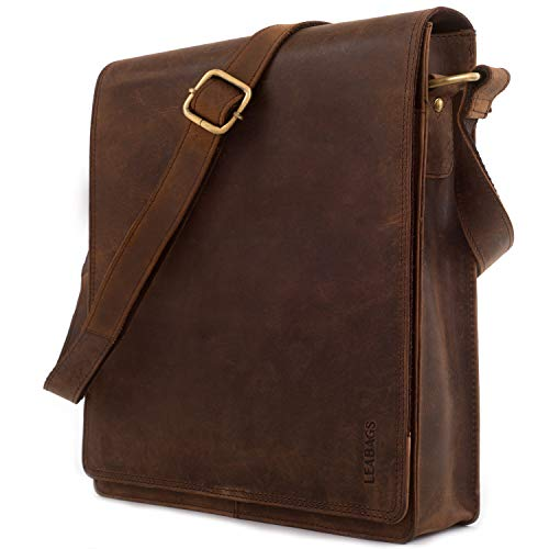 LEABAGS London Messenger Bag Shoulder Bag for 13 inch Laptop of Genuine Leather in Vintage Style - Muskat