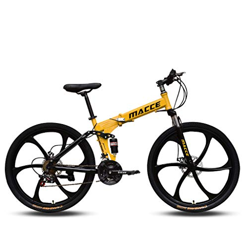 Adult Mountain Bikes - 26 Inch Steel Carbon Mountain Trail Bike High Carbon Steel Full Suspension Frame Folding Bicycles - US Fast Shipment 21 Speed ​​Gears Dual Disc Brakes Mountain Bicycle (Yellow)