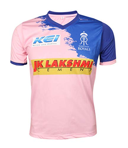 IPL Cricket RR 2019 Jersey Supporter T Shirt Stokes 55 Custom Print Name No Rajasthan Royals Uniform(Plain, 40)