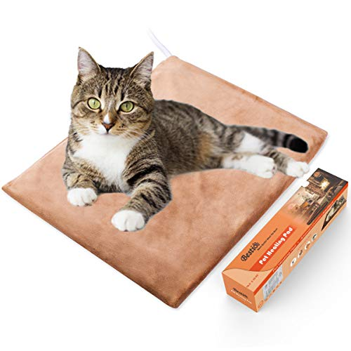 Bestio Pet Heating Pad Heated Dog Cat Mat Pet Bed Warmer MET Safety Certified Optimal Even Constant Temperature Heavy Duty Chew Resistant Cord Water Proof for Indoor Dog Cat (12``15.75``)