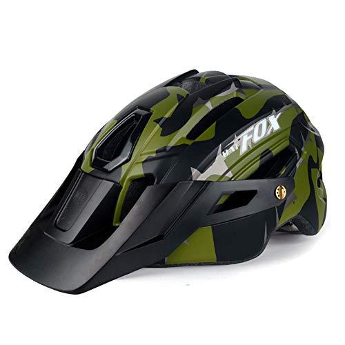 OMGPFR Casco De Bicicleta MTB para Adultos, Casco De Seguridad para Montar Al Aire Libre con Luz De Advertencia Casco De Bicicleta De Montaña Integrado EPS 14 Vents (Armygreen)