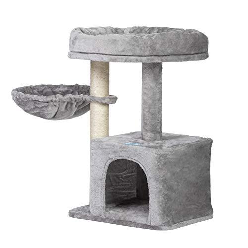 Hey-brother Kratzbaum klein für Katzen, Katzenbaum mit Liegemulde, Stabiler Katzenkratzbaum Katzenmöbel, Kleiner Katzenkletterrahmen Rauchgraues MPJ002SW