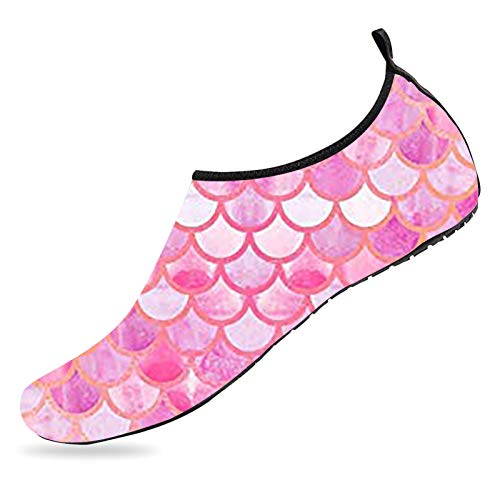 Pink Mermaid Water Shoes Quick Dry Barefoot Shoes Non Slip Aqua Socks Sports Beach Swim Pool Shoes for Mens Womens