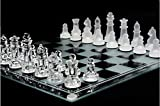KPS Glass Chess Set Featuring Frosted and Clear Glass Pieces & Glass Board