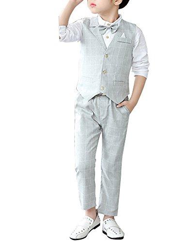 Quge Completo dei Ragazzi del Cerimonia Vestito Convenzionale Gilet + Pantaloni + Camicia 3 Pezzi Grigio XL