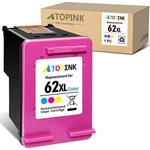 ATOPINK Cartucho de tinta remanufacturado de repuesto para HP 62 62XL para HP OfficeJet 250 200 5740 5742 Envy 7640 5646 5540 5640 5545 5541 5544 (1 color).
