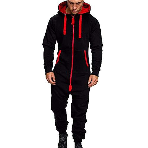 Urijk Herren Jogging Jumpsuit Jogginganzug Sportanzug Trainingsanzug Fitness Outfit Streetwear Trainingsanzug Jogginghose Hoodie Sportbekleidung(Schwarz,XL)