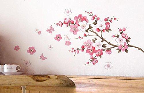 Wall Sticker, DDLBiz Adesivi Murales, Carta da Pareti 'Fiore Rosa Farfalla' Decorazione Murali da Parete
