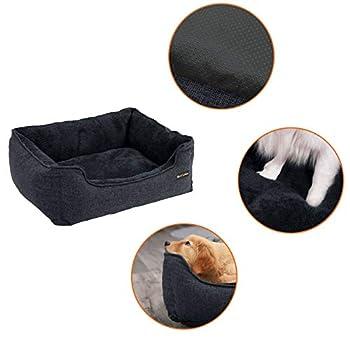 FEANDREA Panier pour Chien, Housse Amovible, 90x75x25cm, Gris Foncé PGW011G01