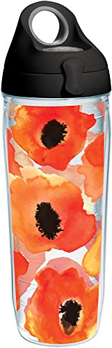 Tervis Watercolor Poppy Tumbler with Wrap and Black with Gray Lid 24oz Water Bottle, Clear