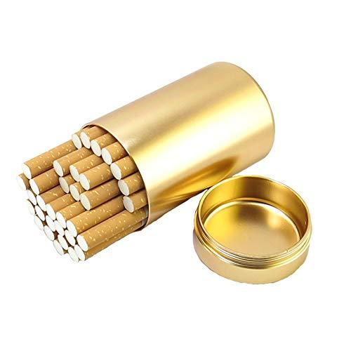 Caja De Cigarrillos De Metal con Sello De Anillo De Goma Gran Capacidad Impermeable Hombres De Tabaco Al Aire Libre Tetera,Gold,30Sticks