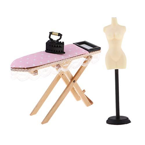 F Fityle Puppenhaus Zubehör, Miniatur Bügeleisen Bügelbrett mit Schaufensterpuppe für 1:6 Puppenhaus Deko Kinder Geschenk