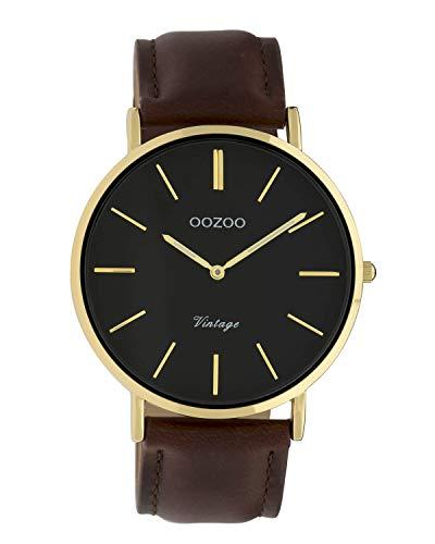 Oozoo Vintage Damenuhr Lederband 32 MM Goldfarben/Schwarz/Dunkelbraun C9838