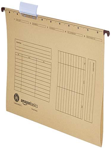 AmazonBasics - Carpetas colgantes, de Manila reciclada, se abre en ambos lados, 230 g/m2, A4, paquete de 25, marrón