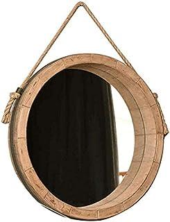 Miroir de Maquillage de vanité Ronde avec Corde de Chanvre Cadre en Bois décor à la Maison Dressage Miroir Miroir Grand Mi...