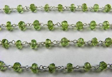 World Wide Gems Perit Perit - Cadena de rosario (1 m), color verde