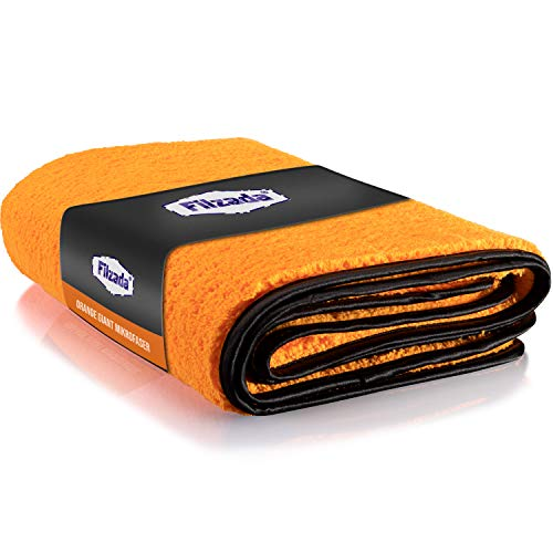 Filzada® 1X Orange Giant XXL (60 x 90 cm) - Lackschonendes Mikrofasertuch Auto - Unfassbare Saugkraft Und Fusselfrei Dank Extrem Weicher Mikrofaser - Auto Poliertücher Zur Professionellen Autopflege