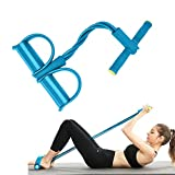 JIRVY 4-Tube Pedal Resistance Band Super Light Yoga Strap Elastic Pull Rope Fitness Equipment for Sit-up Bodybuilding Expander Abdomen Workout Arm Stretching Slimming Training Blue