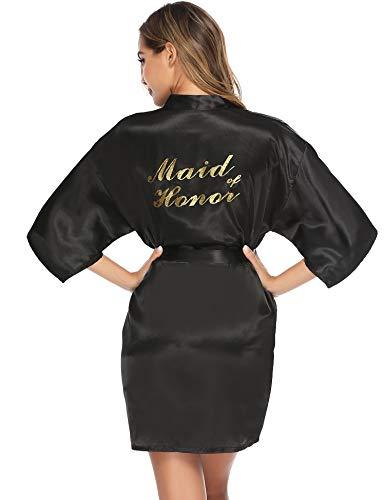 Aibrou Womens Kimono Robes Satijn Nachtkleding Pure Kleur Korte Stijl met Oblique V-hals