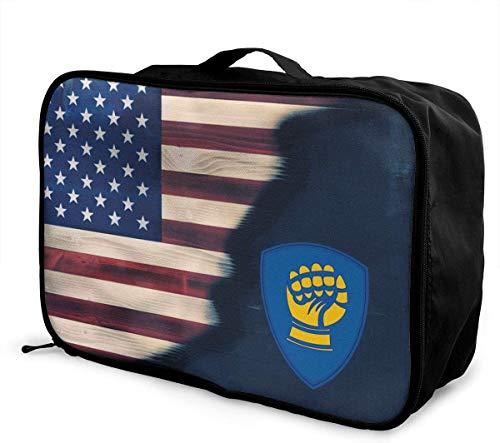 Bolsa de Viaje,Plegable Ligero Bolso Equipaje, 46th Infantry Division Travel Lightweight Waterproof Foldable Storage Carry Luggage Duffle Tote Bag
