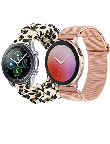Glebo 2 Packs Elastic Loop Bands Compatible with Samsung Galaxy Watch Active 2 40mm 44mm/ Active 40mm/ Watch 3 41mm/ Watch 42mm, 20mm Stretchy Nylon Strap + Scrunchie Wristband, Leopard/Rose Gold-S